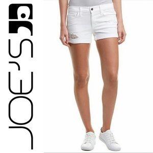 Joe's Jeans Janel White Denim Roll Up Jean Shorts